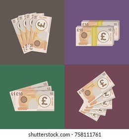 10 Pound sterling banknotes design. Vector Illustration.