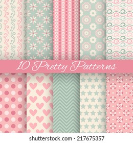 10 Pretty pastel vector seamless patterns. Endless texture can be used for wallpaper, fill, web background, texture. Set of abstract cute ornaments. Blue, pink, white colors.
