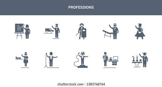 10 professions vector icons such as scientist, secretary, showman, singer, stewardess contains superhero, surgeon, swat, taxi driver, teacher. professions icons