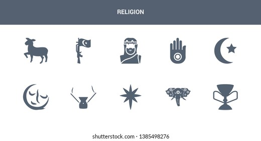 10 religion vector icons such as holy chalice, holy elephant, holy star, incense, indulgence contains islam, jainism, jesus, jihad, lamb. religion icons