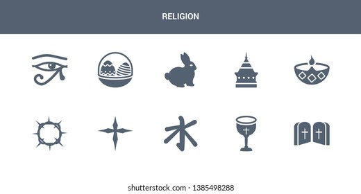10 religion vector icons such as commandments, communion, confucianism, cross, crown of thorns contains diwali, doi suthep, easter bunny, easter eggs, eye of ra. religion icons