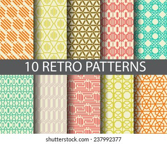 10 retro patterns,  Pattern Swatches, vector, Endless texture can be used for wallpaper, pattern fills, web page,background,surface