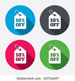 10% sale price tag sign icon. Discount symbol. Special offer label. Circle buttons with long shadow. 4 icons set. Vector