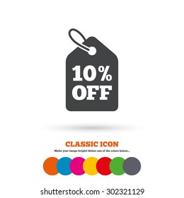 10% sale price tag sign icon. Discount symbol. Special offer label. Classic flat icon. Colored circles. Vector