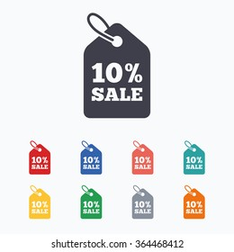 10% sale price tag sign icon. Discount symbol. Special offer label. Colored flat icons on white background.