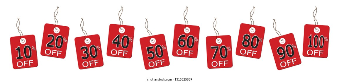 10 sales tags on strings from 10% to 100% in a line isolated on a white background