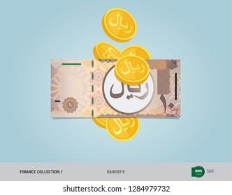 10 Saudi Arabia Riyal with flying coins. Flat style vector illustration. Finance concept.