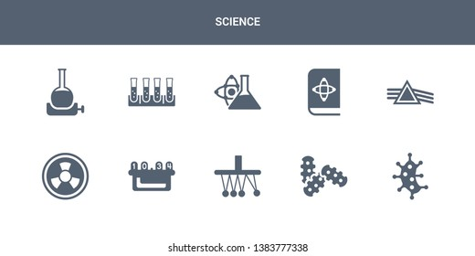 10 science vector icons such as microorganism, microorganisms, newton, nixie, radioactivity contains refraction, science book, scientific, tubes, volumetric flask. science icons