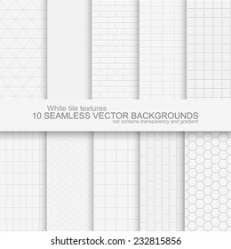 10 Seamless backgrounds of white tile texture. Does not contain gradients and transparency