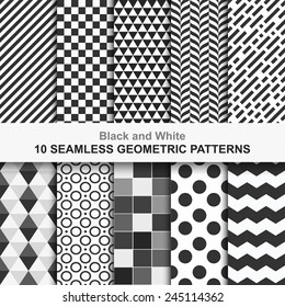 10 Seamless geometric vector patterns, black and white texture