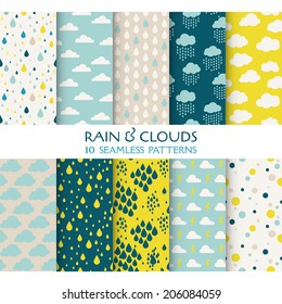 10 Seamless Patterns. Rain and Clouds. Texture for Wallpaper, Background, Scrapbook in vector