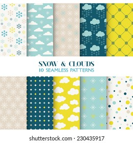 10 Seamless Patterns. Snow and Clouds. Texture for Wallpaper, Background, Scrapbook. Vector