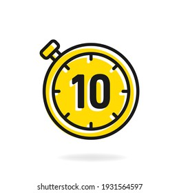 10 second timer clock icon flat design isolated on white background. Vector illustration