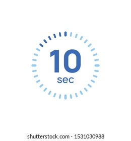 10 second timer clock. 10 sec stopwatch icon countdown time digital stop chronometer.