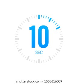 The 10 second, timer, stopwatch vector icon. 10 second Stopwatch icon in flat style. Vector stock illustration.