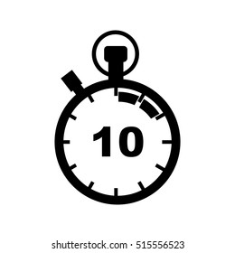 The 10 seconds, minutes stopwatch icon. Clock and watch, timer, countdown symbol.