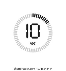 The 10 seconds, stopwatch vector icon. Clock and watch, timer, countdown symbol.