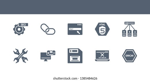 10 seo vector icons such as error, error 404, floppy disk, game development, hardware contains hosting, html5, http, hyperlink, image seo. seo icons