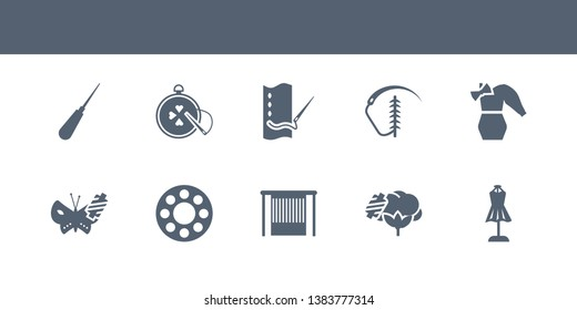 10 sew vector icons such as hand craft, cotton reel, handloom, bobbin, silk contains styling, suture, running stitch, needlepoint, awl. sew icons