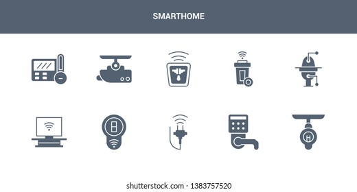 10 smarthome vector icons such as smart lamp, smart lock, smart plug, switch, television contains toilet, trash, socket, surveillance, thermostat. smarthome icons