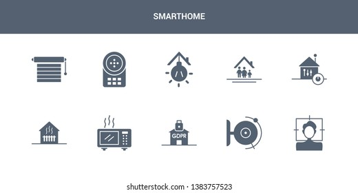 10 smarthome vector icons such as face scan, fire alarm, gdpr, heat leak, heating contains home automation, household, illumination, intercom, jalousie automation. smarthome icons