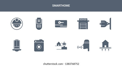 10 smarthome vector icons such as underfloor heating, voice control, vr technology, washer machine, windows contains cctv, garage, key card, remote control, robot vacuum cleaner. smarthome icons
