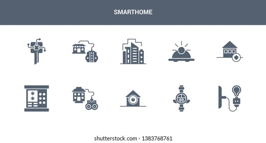 10 smarthome vector icons such as light, meter, power button, remote vehicle, security code contains security system, sensor, smart city, smart home console, smart key. smarthome icons