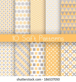 10 Soft different vector seamless patterns (tiling). Endless texture for wallpaper, fill, web page background, texture. Set of delicate geometric ornament. Yellow, grey and white shabby colors