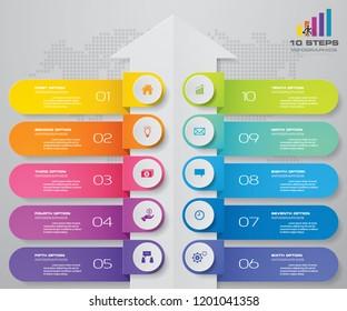 10 steps of arrow infografics template. for your presentation. EPS 10.