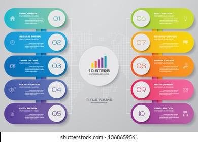 10 steps infographics chart design element. For data presentation.