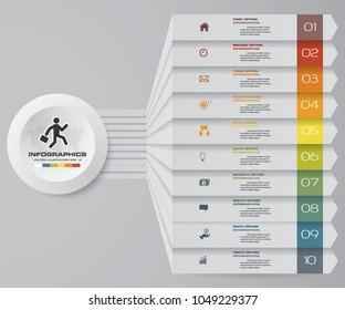 10 steps Infographics element chart for presentation. EPS 10. Arrow template for business presentation.