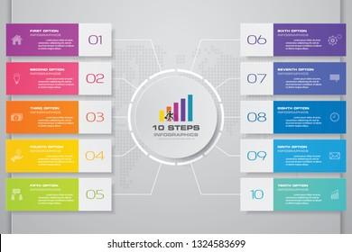 10 steps presentation chart infographics element. EPS 10.