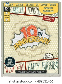 10 th anniversary. Happy birthday placard. Explosion in comic style with realistic puffs smoke. Vector vintage banner, poster for web and print template