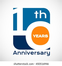 10 th years anniversary with square shape