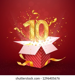 10 th years number anniversary and open gift box with explosions confetti isolated design element. Template ten tenth birthday celebration on red background vector Illustration.