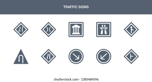 10 traffic signs vector icons such as intersection, keep left, keep right, lane, left hair pin contains merging, motorway, museum, narrow bridge, narrow lane. traffic signs icons