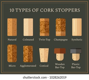 10 types of cork stoppers. Vector set with different isolated corks and title for each kind on dark background. Flat design illustration for presentation or promo material.