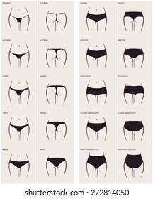 10 types of women's panties. Vector set of underwear. Silhouette ass in front and behind. string, thong, tanga, bikini, cheeky, hipster, boyshorts, classic brief, slip, high waist, retro