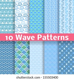 10 Wave different seamless patterns (tiling). Vector illustration for abstract aqua design. Endless texture can be used for fills, web page background, surface. Set of blue wallpaper with curves.