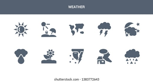 10 weather vector icons such as sleet, smog, snow storms, spring, sprinkle weather contains starry night, stormy, subtropical climate, summer, sunny. weather icons