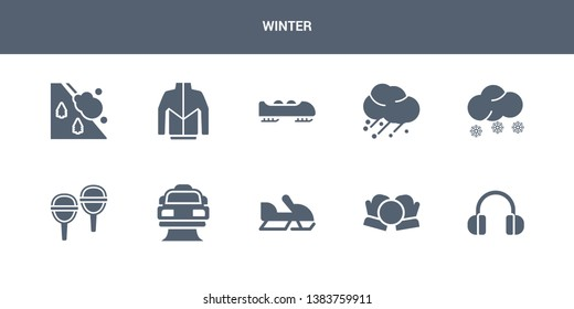 10 winter vector icons such as earmuffs, snow ball, snowmobile, snowplow, snowshoes contains snowy, hail, bobsled, winter clothes, avalanche. winter icons