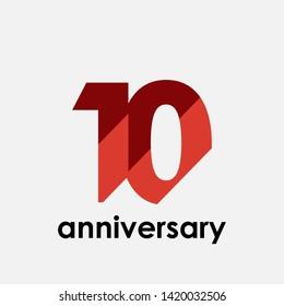 10 Year Anniversary Elegant for Celebration Vector Template Design Illustration