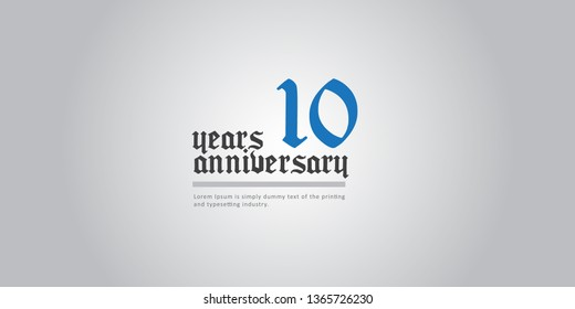 10 Year Anniversary Vector Template Design Illustration, with flat design.