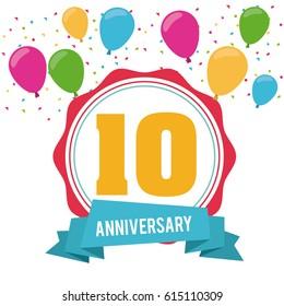 10 Year. Celebrating Anniversary. Vector graphic