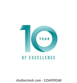 10 Year of Excellence Vector Template Design Illustration