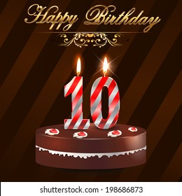 10 year Happy Birthday Card with cake and candles, 10th birthday - vector EPS10