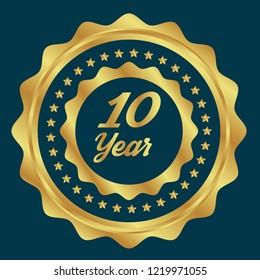 10 year jubilee gold button. emblem for jubilee.