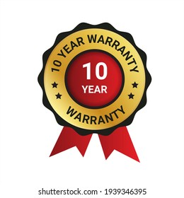 10 year warranty badge, label illustration, Extended warranty Guarantee Brand, emblem, label, logo