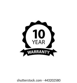 10 year warranty label flat icon