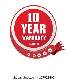 10 year warranty sign,vector